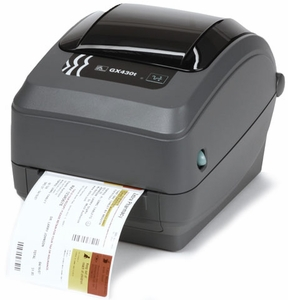 Zebra GX430 printer with Bluetooth (replaces parallel), LCD, Cutter, Adjustable Black Line Sensor, Extended Memory, Real Time Clock