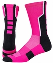 3-Pointer Hot Pink & Black Crew Socks