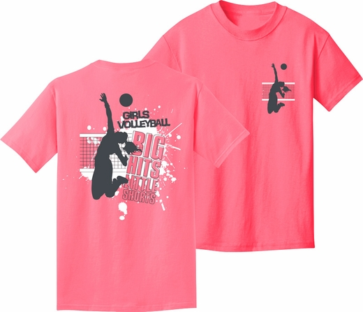 Girls Volleyball Big Hits Little Shorts Neon Pink Short Sleeve ...