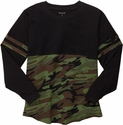 Black & Camo Oversize Game Day Jersey Pullover w/ optional Volleyball Imprint