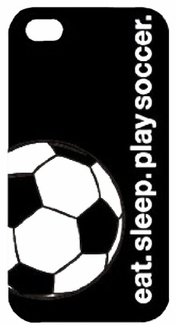 Black eat. sleep. play soccer. iPhone 4 / 4S Phone Case