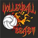Blazing Volleyball Beast Design T-Shirt - in 27 Shirt Colors