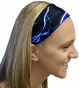 Blue Lightning Spandex Fabric Headband