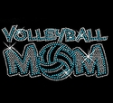 Blue Volleyball Mom Rhinestone Black Fitted Crew Neck Tee