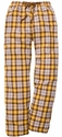 Brown & Gold Plaid Flannel Lounge Pants - Choice of 22 Sports on Leg or Rear