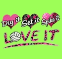 Dig Set Spike Neon Green Volleyball T-Shirt