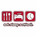 Eat Sleep Softball Design Hooded Sweatshirt - in 20 Hoodie Colors