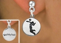 Girl Serving / Volleyball Player Silver Post Earrings