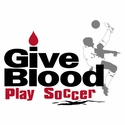 Give Blood Play Soccer Design T-Shirt - in 27 Shirt Colors