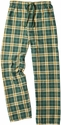 Green & Gold Plaid Flannel Lounge Pants - Choice of 22 Sport Imprints on Leg or Rear