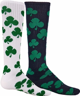 Green Shamrock Knee High Socks - in White or Black