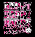 Happy Happy Happy Play'n Volleyball Design Black T-Shirt
