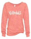Ladies Abstract Volleyball Coral Crew Burnout Fleece - in 5 Design Colors