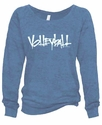 Denim Blue Ladies Burnout Fleece Crew w/ Abstract Volleyball Design in 5 Colors
