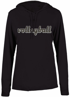 Ladies Black LS Performance Hooded Tee w/ Volleyball Graphic