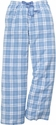 Light Blue Plaid Flannel Lounge Pants - Choice of 22 Sport Imprints on Leg or Rear