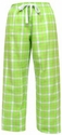 Lime Green Plaid Flannel Lounge Pants - Choice of 22 Sport Imprints on Leg or Rear