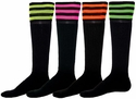 Mach 3 Black & Neon Stripe Knee High Socks - in 4 Colors