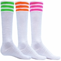 Mach 3 White & Neon Stripe Knee High Socks - in 3 Colors