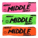 Middle Neon Spandex Headband w/ Black Lettering - in 5 Colors