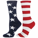 Stars & Stripes USA Flag Mismatch Freedom Crew Socks