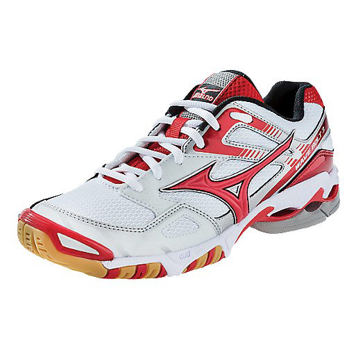 Mizuno's White / Red Wave Bolt 3 Women's Volleyball Shoe - Shoes ...