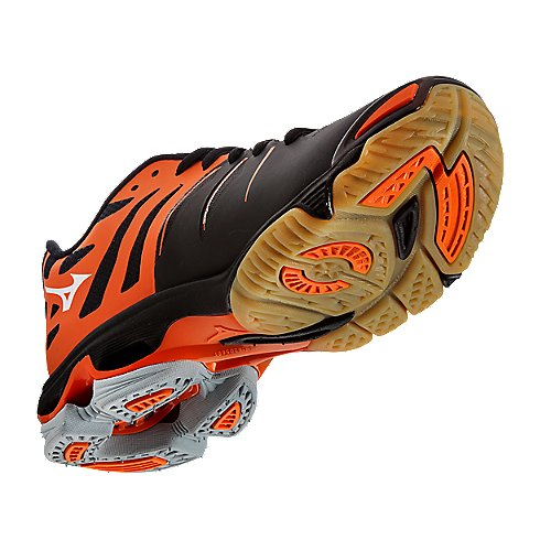 Mizuno's Black / Orange Wave Lightning Z Elite Women's Volleyball ...