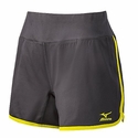 Mizuno Women's Elite 9 Training Short in Charcoal / Lemon
