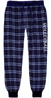 Navy Blue & Columbia Plaid Jogger Pants with Volleyball Print on Leg