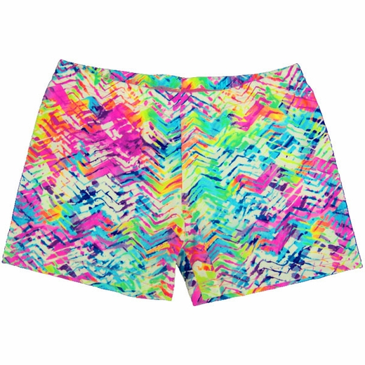 Constructed of nylon/spandex, these mid-length shorts feature a glowing LED print. Plenty of stretch and a one inch elastic waistband provide comfort and ease of movement. Imported.