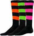 Neon Big Stripe Knee High Socks - in 4 Colors