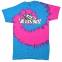 Neon Blue & Pink Tie-Dye T-shirt - in 6 Volleyball Designs