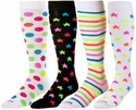 Neon Colored Dots, Stars, Stripes Knee-High KraziSox