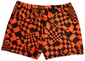 Neon Orange Checkers Spandex Shorts