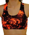 Black & Neon Orange Paint Splatter Sports Bras