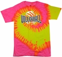 Neon Pink & Yellow Tie-Dye Volleyball Tee - in 6 Designs
