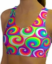 Neon White Swirl Sports Bras