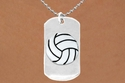 Never Give Up 3D Volleyball Dog-Tag Charm Necklace