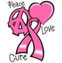 Peace Love Cure Pink Ribbon Awareness T-Shirt - in 27 Shirt Colors