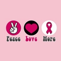 Peace Love Hope Ribbon Awareness T-Shirt - in 27 Shirt Colors