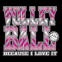 Pink Chevron Volleyball Design Black T-Shirt