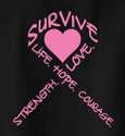 Pink Heart & Pink Ribbon Awareness T-Shirt - in 27 Shirt Colors