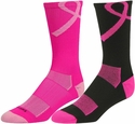 Pink Ribbon Aware Performance Crew Socks - in 3 Colors