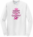 Pink Ribbon Keep Calm Carry On Long Sleeve Shirt - in 18 Shirt Colors