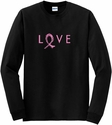 Pink Ribbon Love Design Long Sleeve Shirt - in 18 Shirt Colors