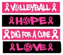 Pink Ribbon Volleyball Headbands - in 8 Styles