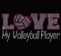 Love My Volleyball Player Pink Rhinestone Black Fitted V-Neck Tee