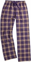 Purple & Gold Plaid Flannel Lounge Pants - Choice of 22 Sport Imprints on Leg or Rear