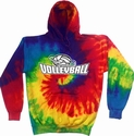 Rainbow Tie-Dye Hooded Sweatshirt - Choice of 3 Volleyball Designs