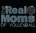 Real Moms Of Volleyball Blue Rhinestone Black Fitted Crew Neck Tee
